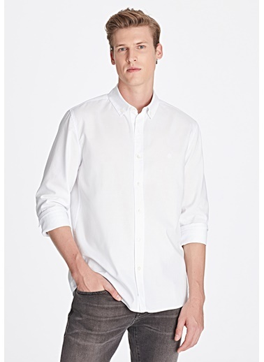 Mavi Slim Fit Gömlek Beyaz
